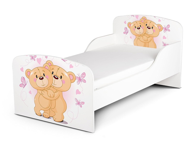 Letto Lettino Per Bambini In Legno e Materasso Magnifiche Stampe Dimensioni 140x70 Motivo Amare Gli Due Orsacchiotti Amico Orso Animale Coccoloso Leomark