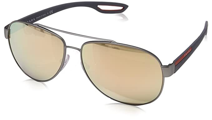 c4129e1ab8 Image Unavailable. Image not available for. Colour  Prada PR52TS 5AV7W1 Lead  PR52TS Square Aviator Sunglasses ...