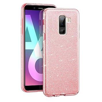 Coovertify Funda Purpurina Brillante Rosa Samsung A6 Plus, Carcasa Resistente de Gel Silicona con Brillo Rosa para Samsung Galaxy A6 Plus (6