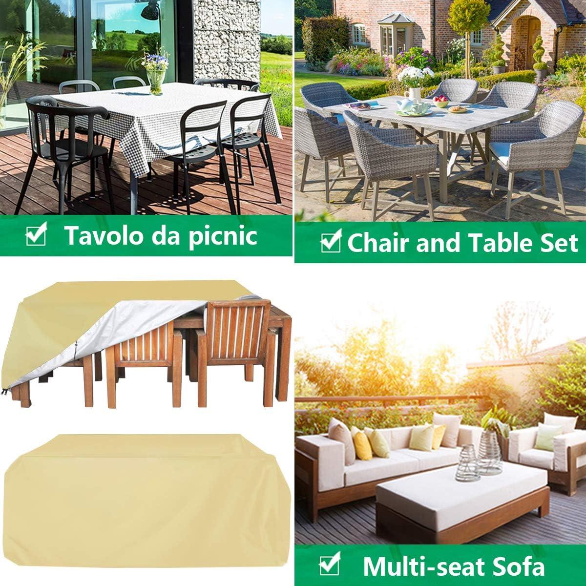 Mesa y Sillas Anti-UV Resistente al Polvo Cubierta Muebles de Mesas 420D Oxford Impermeable Exterior para Sofa de Jardin WYYL Funda para Mesa de Jard/ín Fundas Protectora contra el Fr/ío