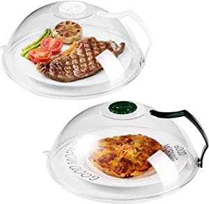 Microwave Splatter Cover, Microwave Cover for Foods BPA-Free, Microwave Plate Cover Guard Lid with Handle, Hanging Hole and Adjustable Steam Vents Microwave Oven Cleaner Large-2 PACK