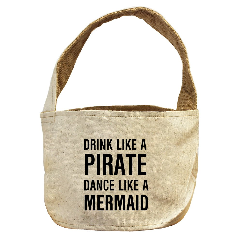 Style in Print Drink Like A Pirate Dance Like A Mermaid Canvas and Burlap Storage Basket