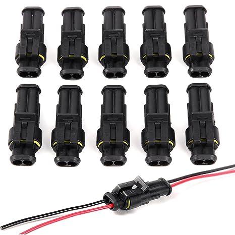 5 Paar KFZ Stecker Steckverbindung Steckverbinder Auto Wasserdicht Kabel 2 polig