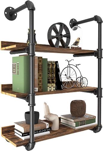 YITAHOME 3 Tier Pipe Shelves Wall Mounted Industrial Retro Iron Shelf