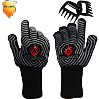 ASADOR BBQ Grill Gloves and Meat Claws,1472℉ Extreme Heat Resistant Gloves/Mitts for BBQ Grilling, Smoker ,Pizza Oven…