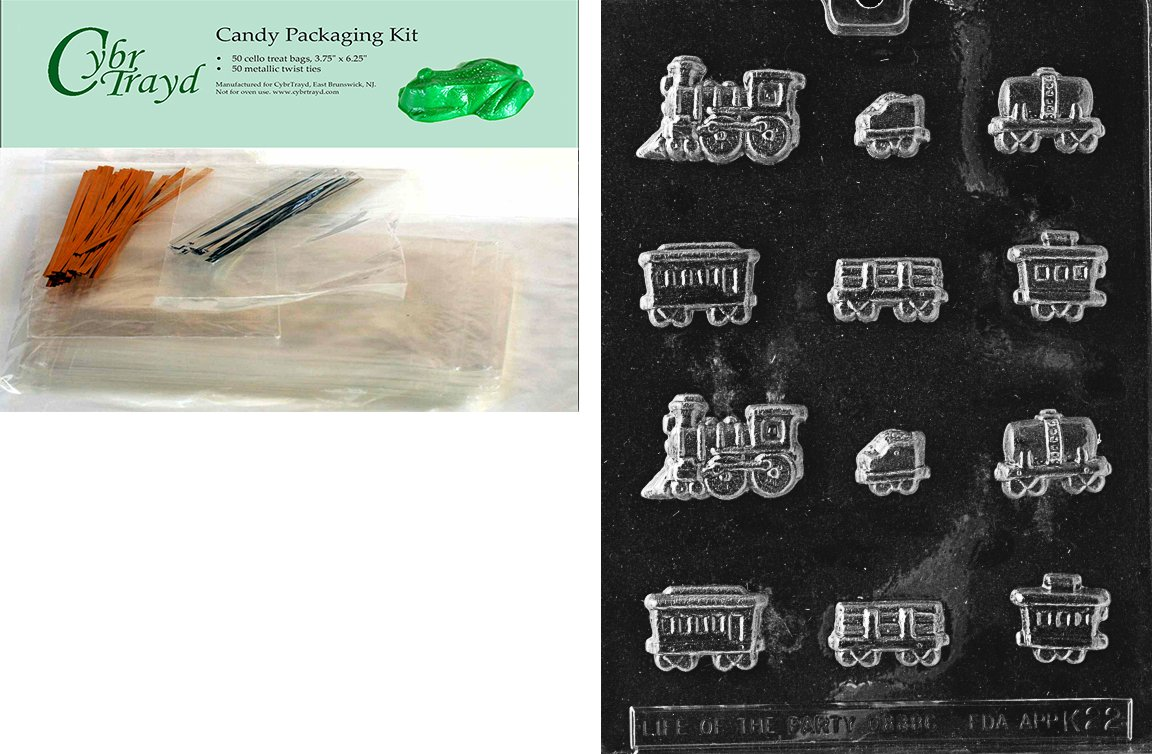 Cybrtrayd Mdk50-K022 Sugar Train Kids Chocolate Candy Mold with Packaging Bundle, Includes 50 Cello Bags, 25 Gold and 25 Silver Twist Ties and Chocolate Molding Instructions