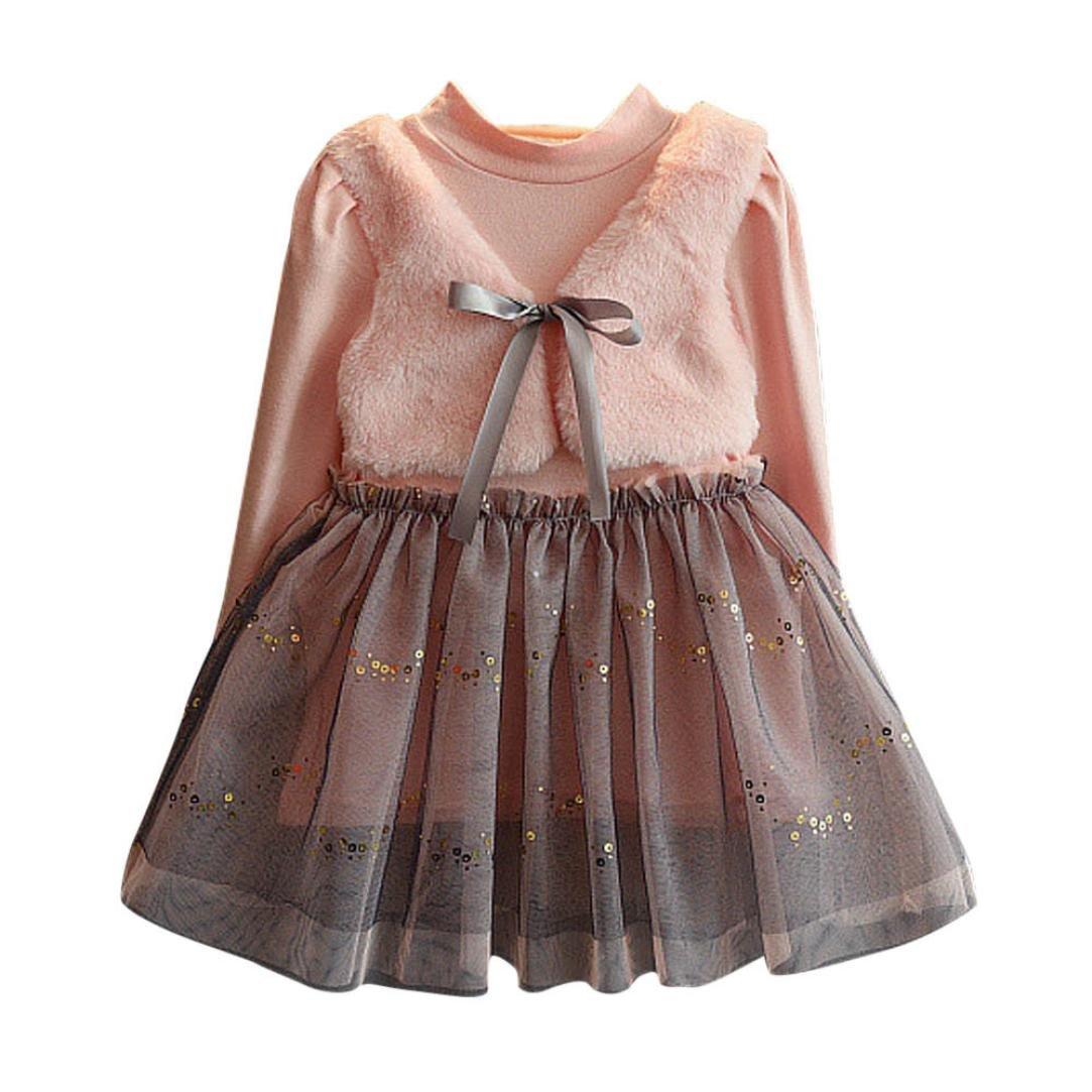 Mädchen kleid, Honestyi Kinder Kleidung Baby Mädchen Winter Niedlich Lange Kleidung Bowknot Pullover Patchwork Prinzessin kleid (Rosa, 3T/90CM) Mädchen kleid