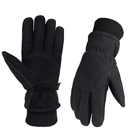 quality design official shop half off OZERO winter leather gloves for cold resistance in cold weather,1 pair,Black