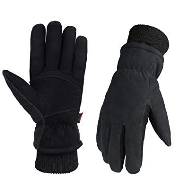 4383d20f85648 OZERO winter gloves with waterproof TPU,genuine deerskin leather and warm  cotton for thermal retention