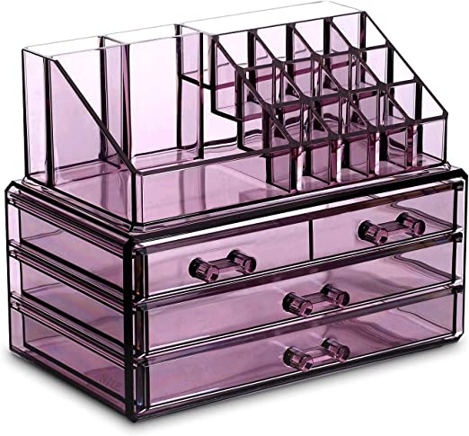 Amazon Com Ikee Design Purple Jewelry Cosmetic Storage Display Boxes Two Pieces Set Purple Cosmetic Jewelry Organizer Makeup Holder Purple Cosmetic Holder Stand Home Kitchen