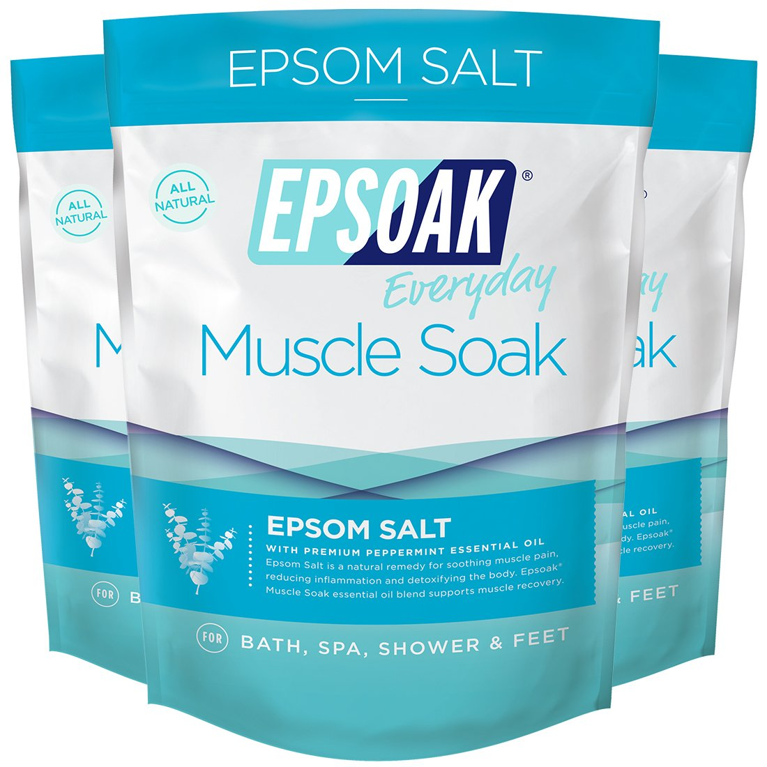 Epsoak Muscle Soak Formula 3 Pack - Relax & Soothe Body Aches & Pains with Essential Oil infused Epsom, Qty 3 x 2lbs bags NA