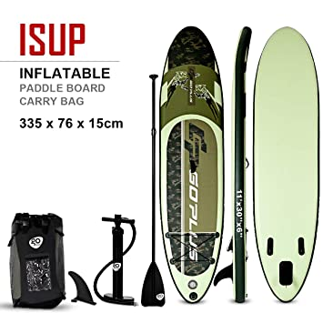 COSTWAY Tabla Hinchable Paddle Surf Sup 335 x 76 x15cm Board Stand ...