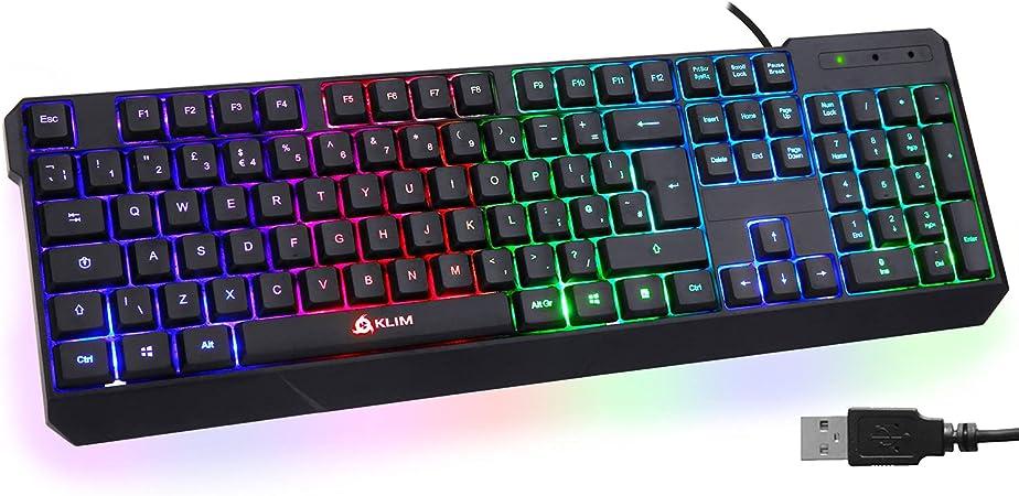 KLIM Chroma Teclado Gaming en English USB – Alto Desempeño – Retroiluminación a Color Estilo Gaming – Teclado para Juegos PC, PS4, Windows, Mac - ...