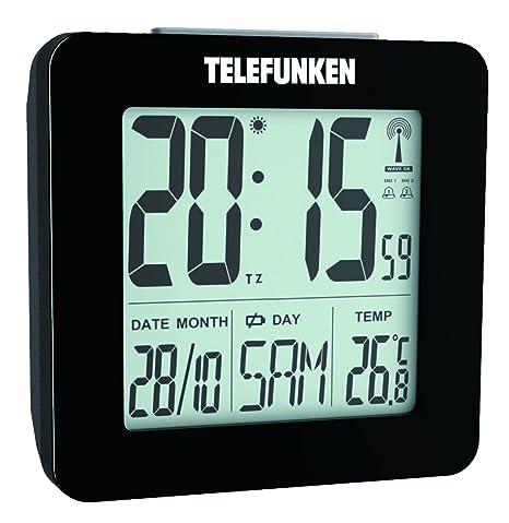 Telefunken FUD de 25 (B) DCF LCD de radio despertador digital con termómetro /