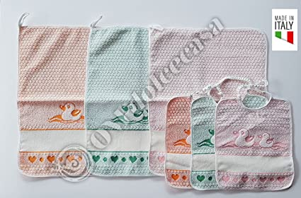 bavaglie 3 piezas con elástica Piu Toallitas 3 piezas dibujo patitos color de niña comprensivo