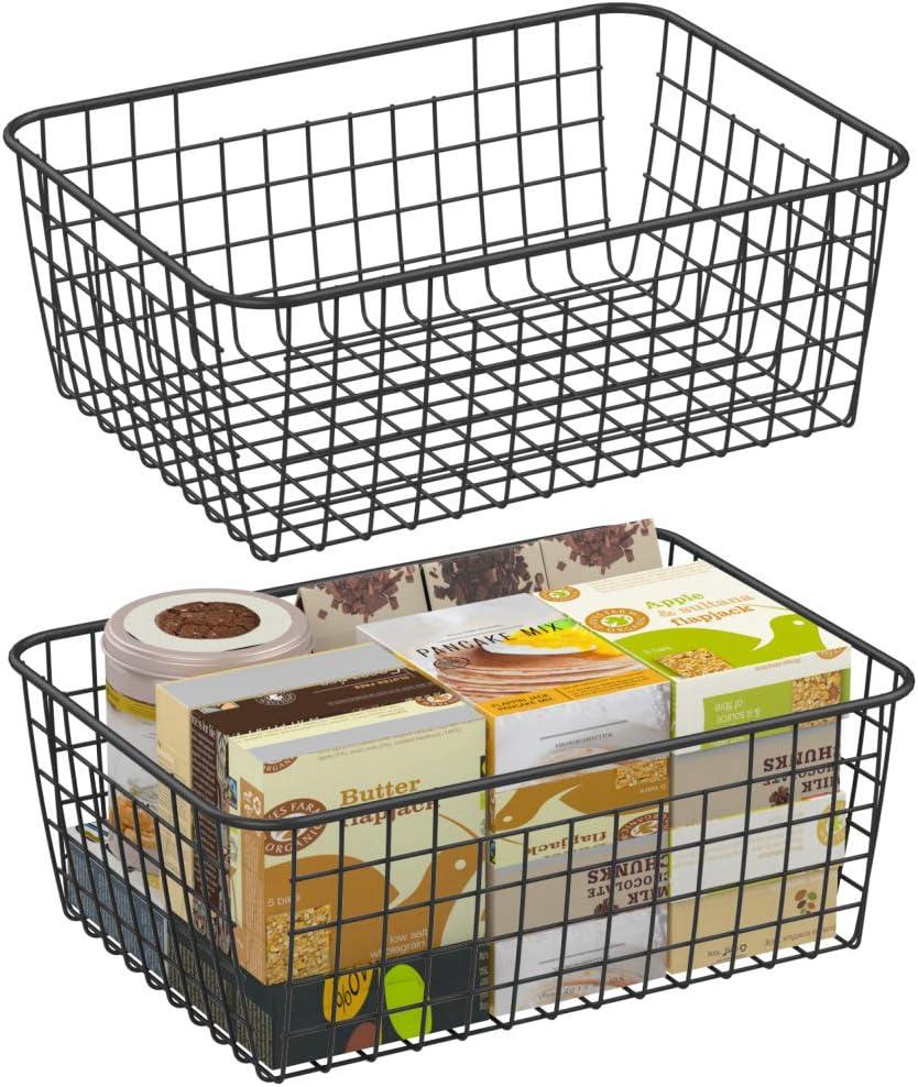 Wire Storage Basket, F-color 2 Pack Large Metal Household Storage Organizer Bin with 4 Built-in Handles for Pantry, Shelf, Freezer, Kitchen Cabinet, Bathroom, Black