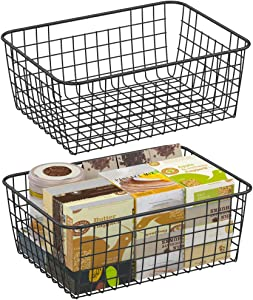 Wire Storage Basket, F-color 2 Pack Large Metal Household Storage Organizer Bin with 4 Built-in Handles for Pantry, Shelf, Freezer, Kitchen Cabinet, Bathroom, Black