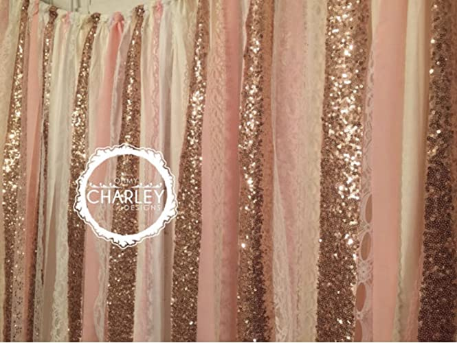 Rose Gold Sequin Garland Fabric Backdrop With Lace