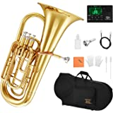 Eastar Bb Euphonium 4 Valve Euphonium B Flat with Hard Case, Mouthpiece, Tuner, Valve Oil Cleaning Kit and Gloves, Student 4