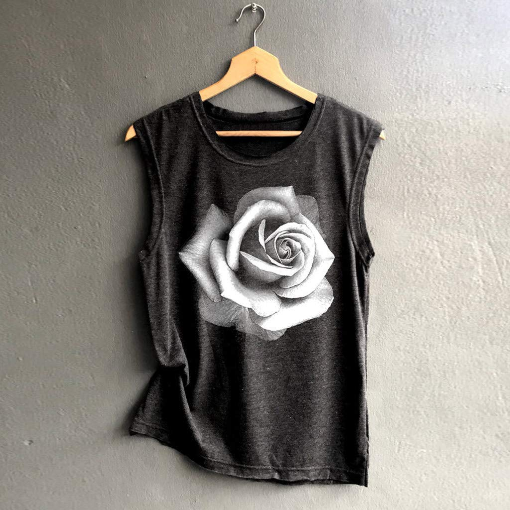Gibobby Women Sunflower Print Printed Shirts Sleeveless Workout Blouse Loose Tank Soft Comfortable Camisoles Tank Top