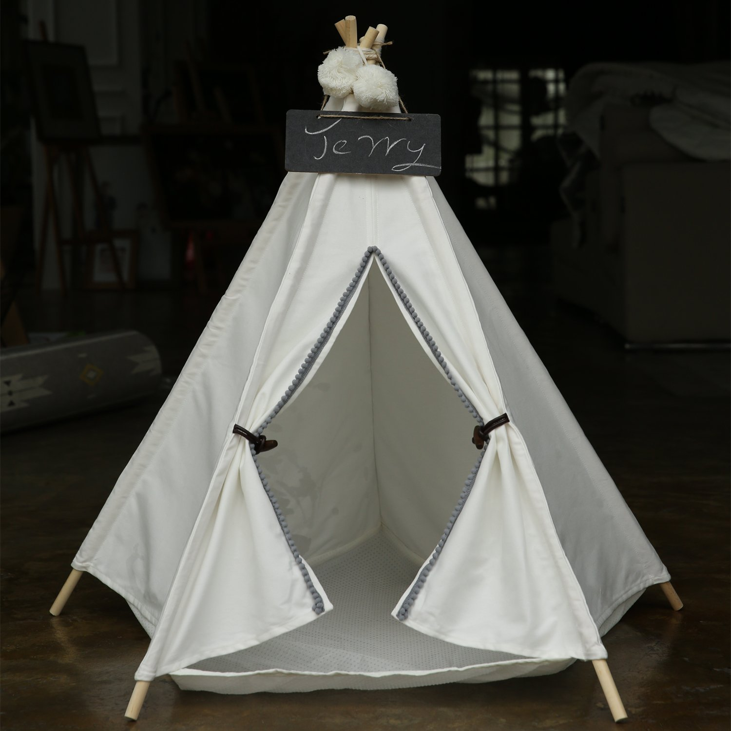 Pet Teepee House - 28 Inch 5-Pole White Canvas Tent with Grey Poms Opening and Horn Buttons, Comes with Pad Mat & Free Hangings, Elegant Cat Dog Puppy Snuggle Bed Furniture By Wonder Space