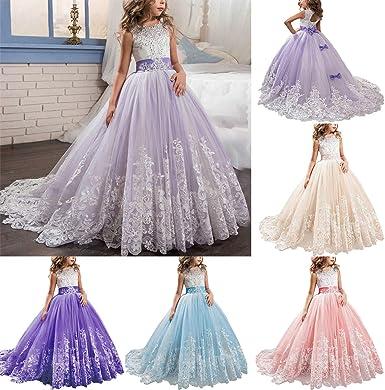 Lace Flower Girls Princess Dress Kids Wedding Bridesmaid Communion Pageant Prom
