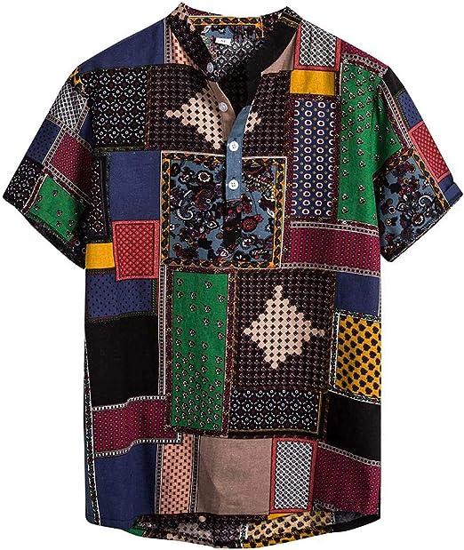 Mens Hawaiian Henry Shirts Short-Sleeved Casual Cotton Linen Printed V Collar Shirt Tops