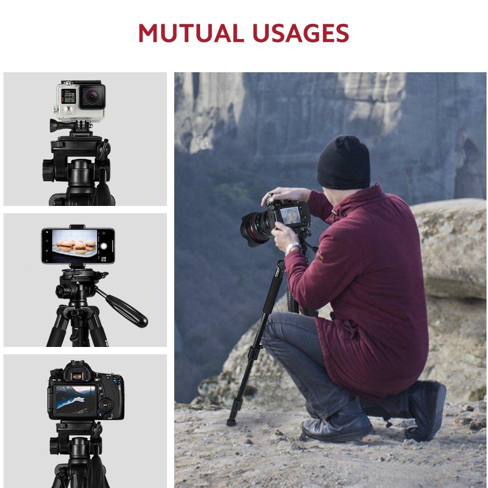 ESDDI 170 cm Treppiedi Fotocamera Alluminio Compatto Treppiede Leggero Per Canon Nikon Sony Olympus DSLR DV Comprensivo di Borsa per il Trasporto Treppiede