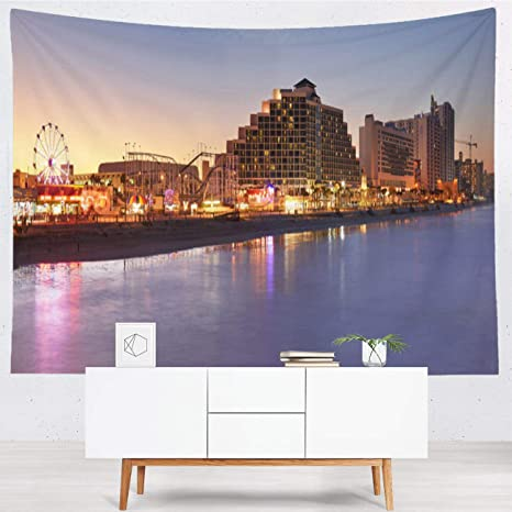 Amazon Com Rldsess Beach Tapestry Wall Hanging Polyester Thin Tapestry Skyline Daytona Beach Florida Fashion Wall Tapestry For Dorm Bedroom Living Room 60x50 In Home Kitchen