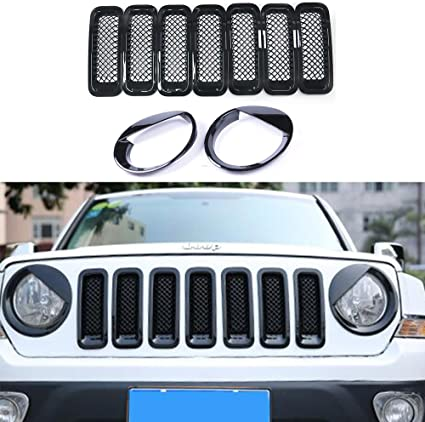 Silver Front Grill Mesh Insert + Angry Bird Headlight Cover-2 AVOMAR Front Grille Grill Mesh Grille Insert Kit Angry Bird Style Headlight Lamp Cover Trim For Jeep Patriot 2011-2016