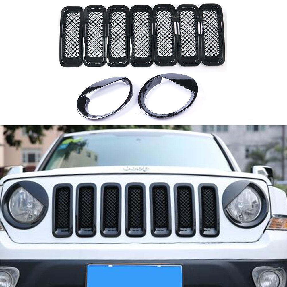 AVOMAR Front Grille Grill Mesh Grille Insert Kit + Angry Bird Style Headlight Lamp Cover Trim For Jeep Patriot 2011-2016 (Black Front Grill Mesh Insert + Angry Bird Headlight Cover-4) AVOMARR