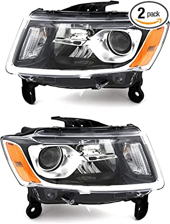 Driver and Passenger Side AmeriLite Chrome LED Parking Turn Signal Replacement Lights Pair for 2014-2016 Jeep Cherokee