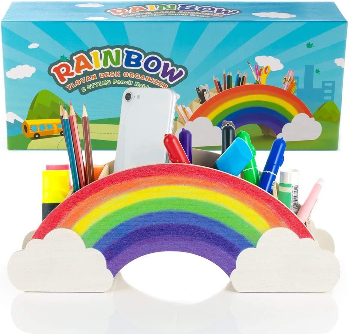 Rainbow Pen Holder Pencil Caddy, Wooden Desk Organizer for Kids Art Supply with Gift Box, School Desktop Decor for Marker Crayon, Office Supplies Stationary Organization Rainbow Accessories for Makeup