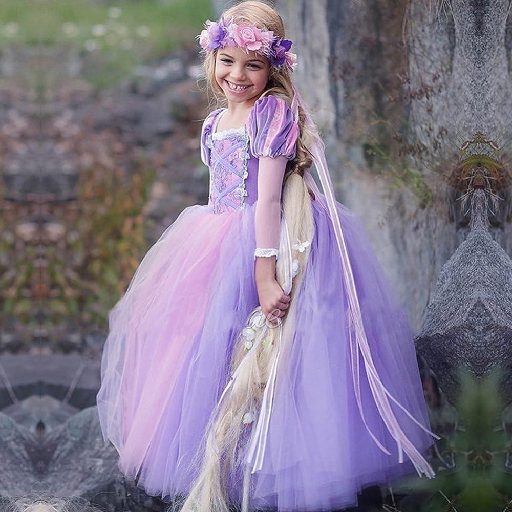 Rapunzel Disfraz Carnaval Traje de Princesa Vestido Niña Elegante ...