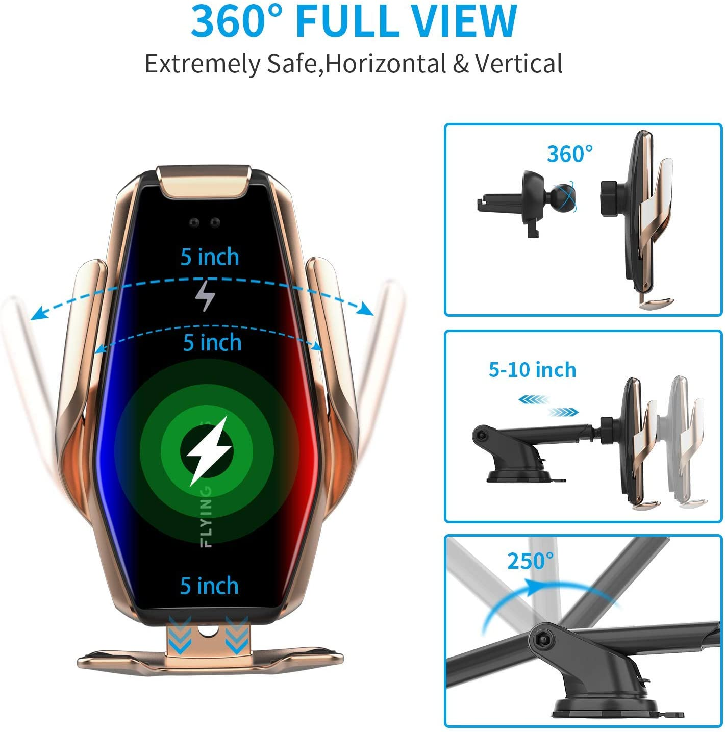 Auto-Clamping Wireless Car Charger Mount,Yianerm 2 in 1 Qi 15W//10W//7.5W Fast Wireless Inductive Air Vent//Dashboard Mount Phone Holder Compatible with iPhone 8//8P//X Samsung Galaxy S9+//S8+//S7 Gold