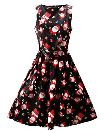 ouges womens christmas gifts fit and flare cocktail dressblack santa - Amazon Christmas Gifts