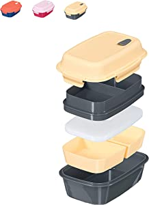 Fresh Box Premium Bento Lunch Box - Leakproof, BPA-free, Multi-Compartment, Detachable Microwave Vent, Convertible Food Container with Re-freezable and Removable Ice Pack