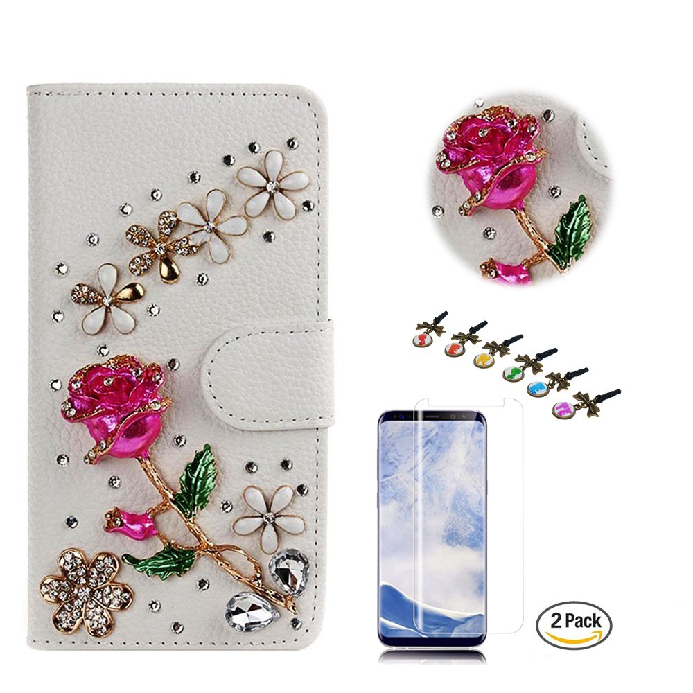 STENES iPhone 8 Plus Case, iPhone 7 Plus Case - Stylish - 3D Handmade Bling Crystal Rose Flowers Floral Design Wallet Credit Card Slots Fold Media Stand Leather Cover with Screen Protector - Red