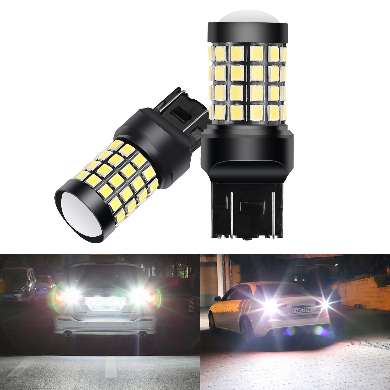 Nakobo T20 7443 Newest Brake Back up Lights 7441 7440 7444NA LED Bulb Smart IC 9-30V brightness Switchable 52-SMD RV Tail Lamp, Xenon White, Pack of 2 7443-48+4W-10-30V