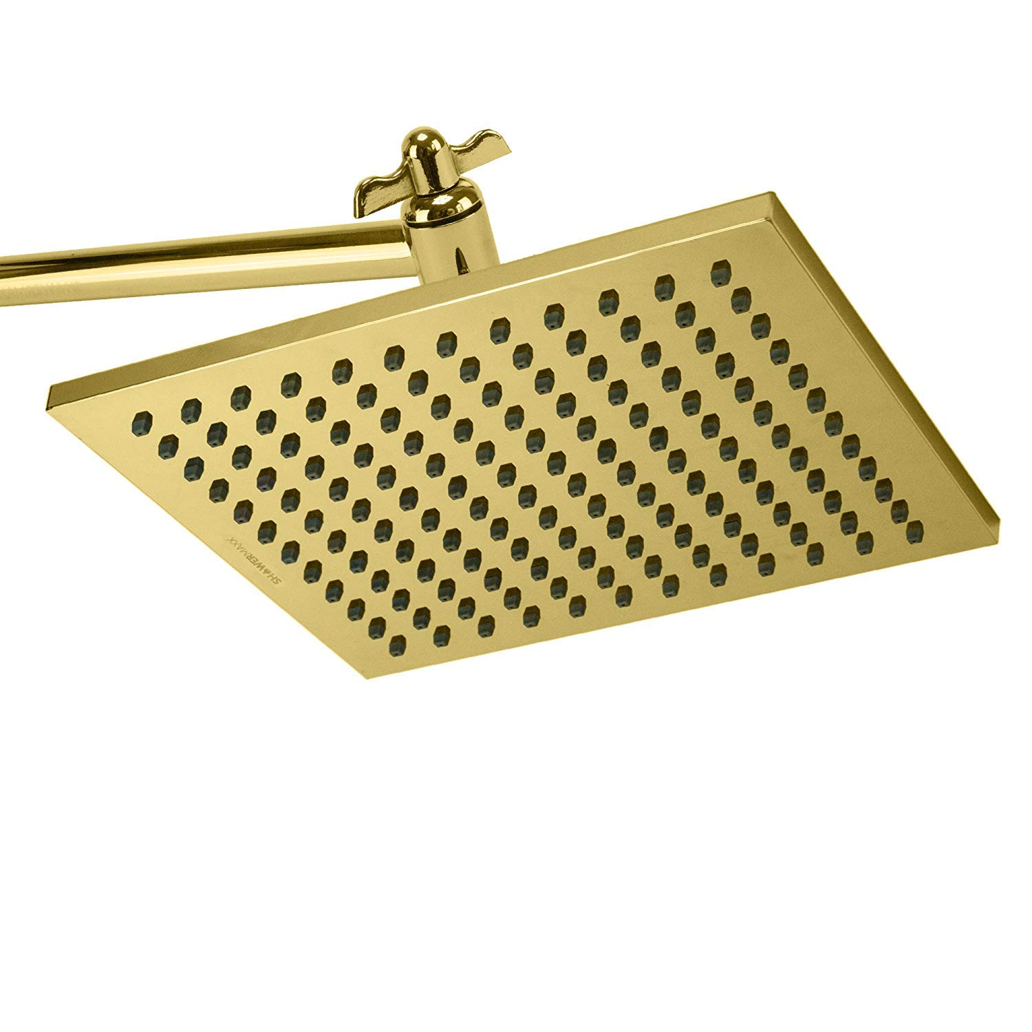 ShowerMaxx, Elite Series, 8 inch Square High Pressure Rainfall Shower Head, MAXX-imize Your Rainfall Experience with Easy-to-Remove Flow Restrictor Rain Showerhead, Polished Brass Gold Finish