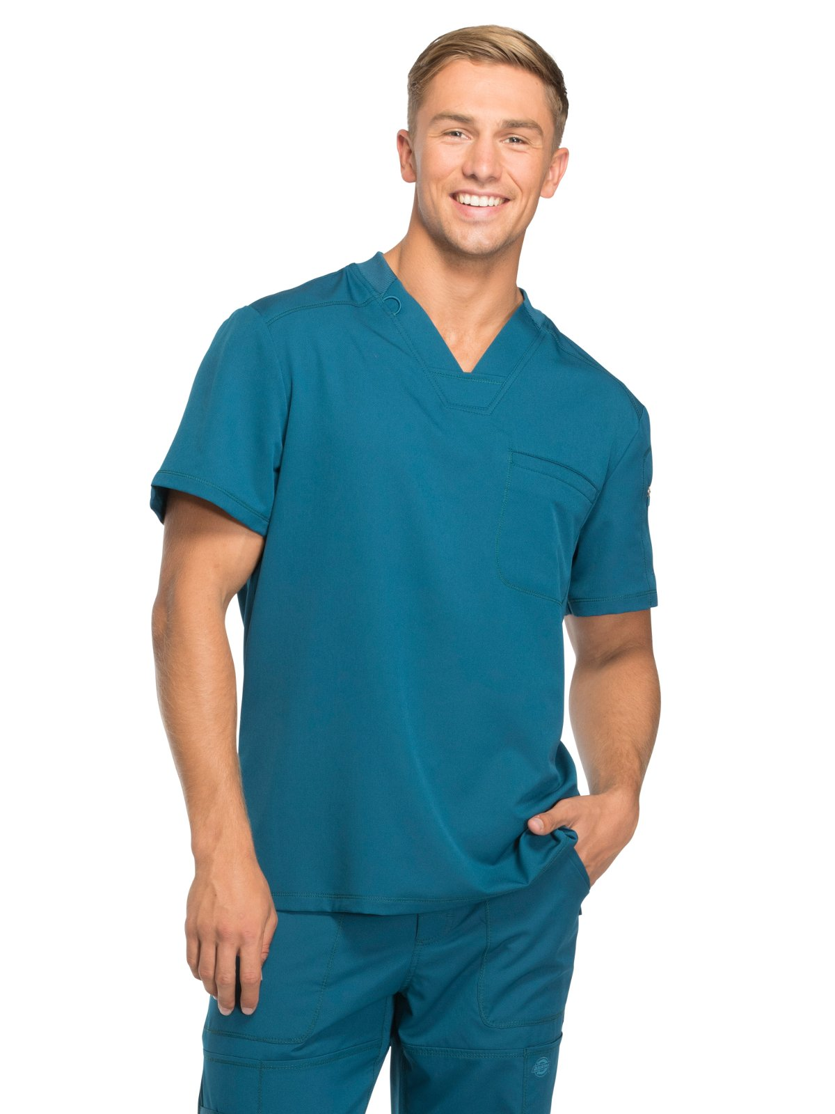 Dickies Dynamix by Men's V-Neck Solid Scrub Top Large Caribbean Blue