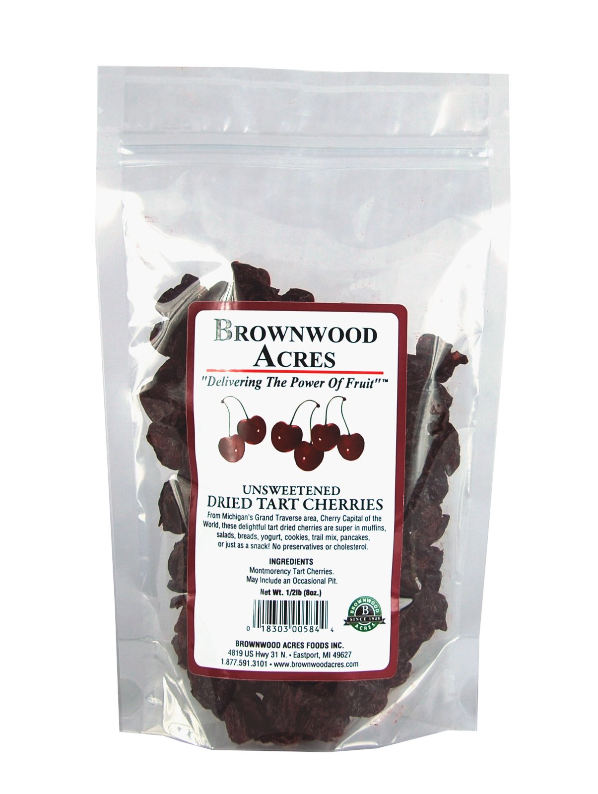 Unsweetened Dried Cherries by Brownwood Acres - No Added Sugars, Oils or fillers - Just Cherries! (1/2 Pound)