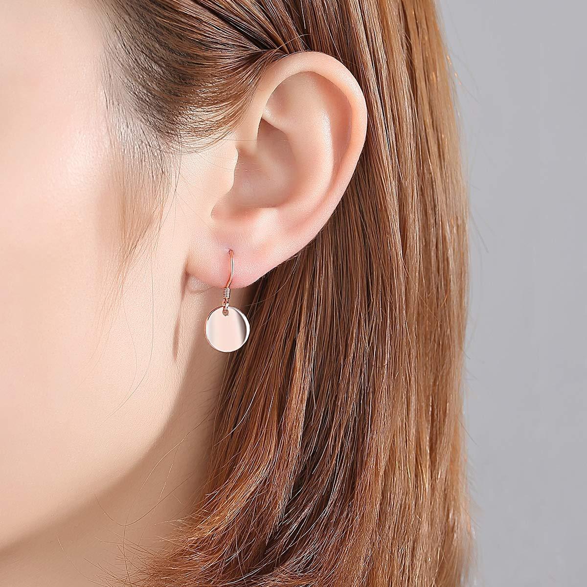 Kalapure 14K Rose Gold 925 Sterling Silver Shiny Earrings Small Circle Disc Dangle Drop Earrings for Women Girls