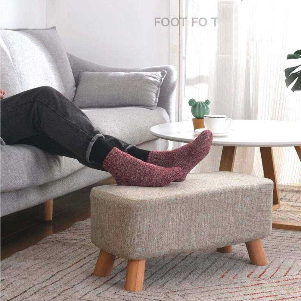 ZBYY Upholstered Footstool Large Footrest Wooden Ottoman Makeup Stool Linen Fabric Seat Cushion With 4 Wood Legs For Hallway Living Room 89x29x29CM