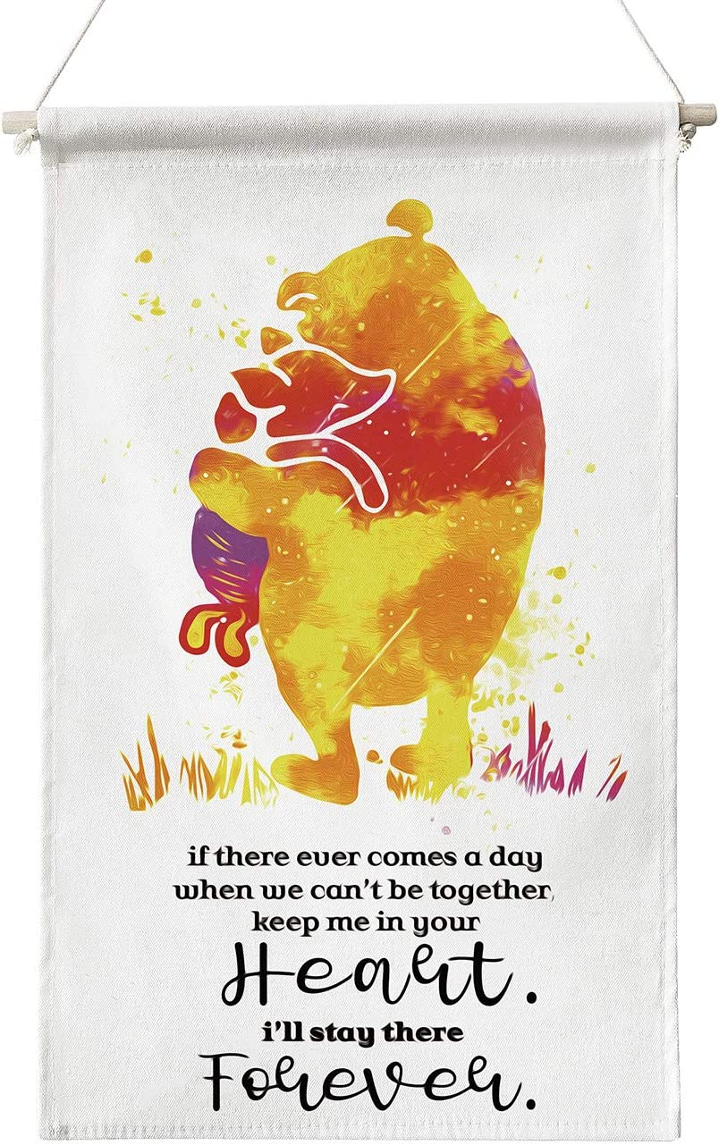 Classic Winnie The Pooh Quote If There Ever Comes a Day Poster Canvas Wall Art,Inspirational Pooh Quotes Wall Decor Canvas Poster Hanger Scroll Hanging Poster Canvas Wall Art Gifts for Home Kids Room Nursery Bedroom Playroom Decor 12 x 20 Inch