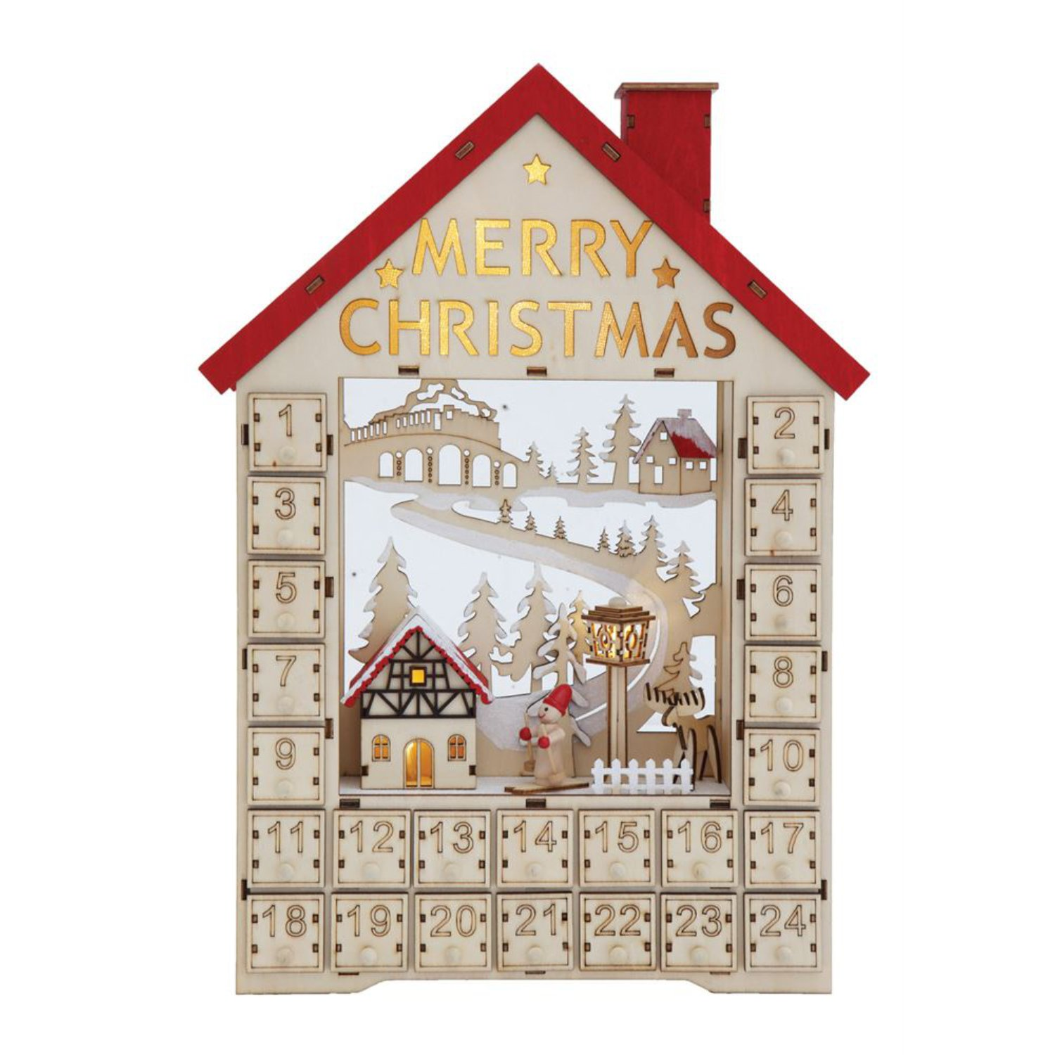 One Holiday Way LED Lighted Wooden Bavarian House Advent Calendar - Christmas Decoration with 24 Storage Drawers