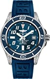 Breitling Superocean 42 Blue Dial Diamond Mens Watch with Diver Pro III Blue Rubber Strap