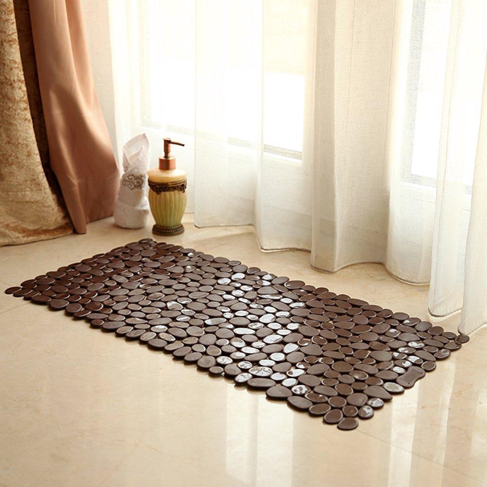 Amazon.com: Anti-Slip Anti-Bacterial Stone Bath Mats,Slip-Resistant Shower  Mats( Black,16 W x 35 L Inches): Home & Kitchen