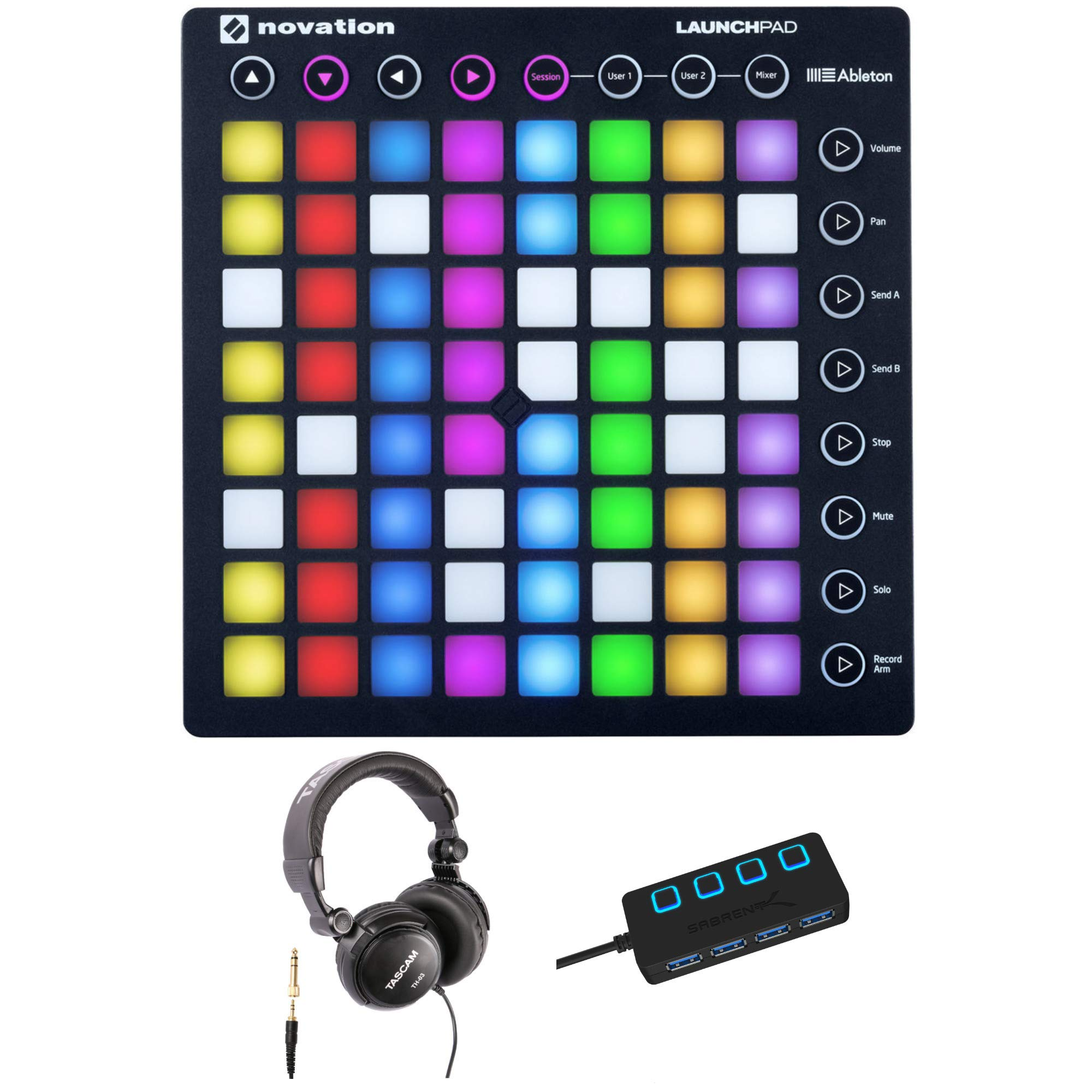 Novation Launchpad MK2 Ableton Live Grid Controller with Headphones and 4 Port 3.0 USB HUB