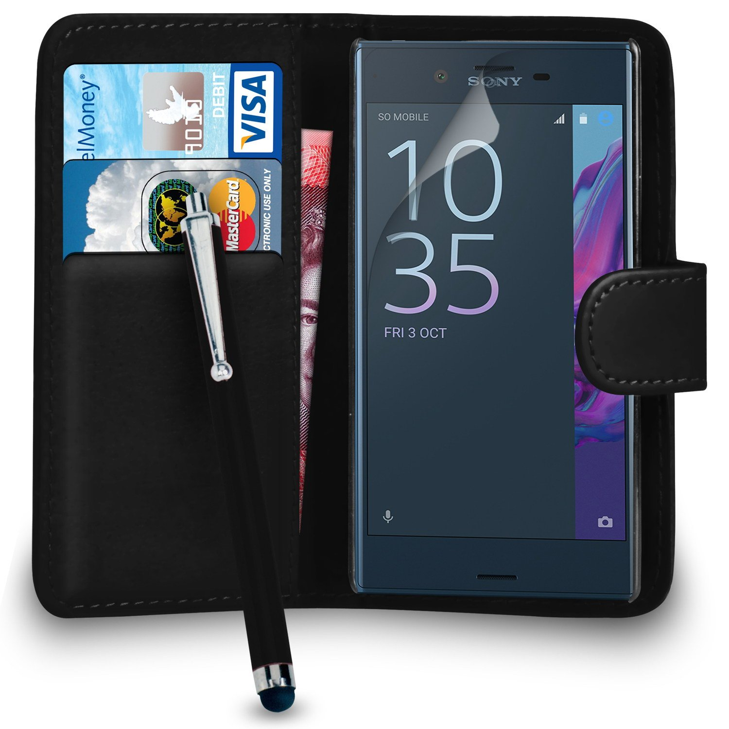 Amazon.com: Sony Xperia XZ - Premium Leather Wallet Flip ...